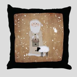Primitive Santa Throw Pillow