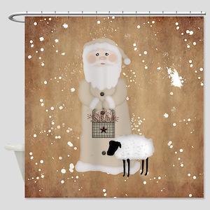 Primitive Santa Shower Curtain