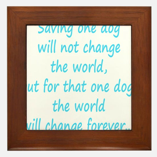 Save dog aqua Framed Tile
