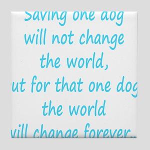 Save dog aqua Tile Coaster