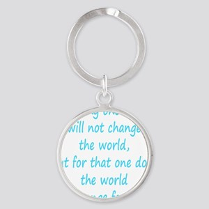 Save dog aqua Round Keychain