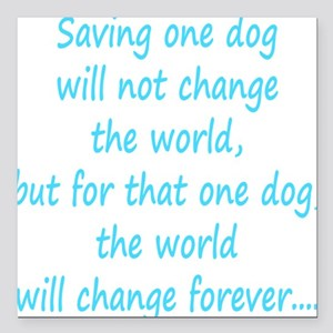 "Save dog aqua Square Car Magnet 3"" x 3"""