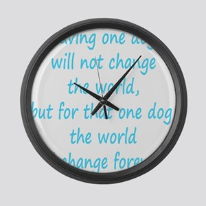 Save dog aqua Large Wall Clock