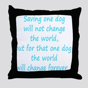 Save dog aqua Throw Pillow