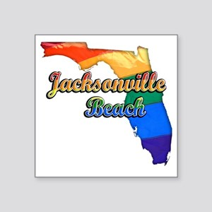 "Jacksonville Beach Square Sticker 3"" x 3"""