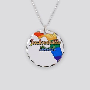 Jacksonville Beach Necklace Circle Charm