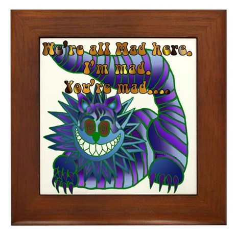 Mad Cheshire Cat Jade Framed Tile