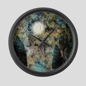 Landscape Glowing in Blue Large Wall Clock