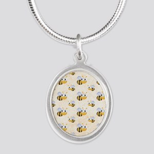 bee22 Silver Oval Necklace