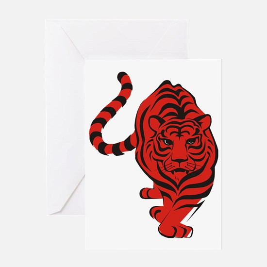 tiger red Greeting Card