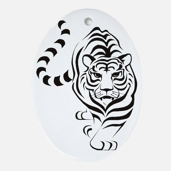 tiger white Oval Ornament
