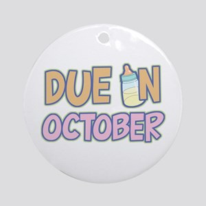 Due In October Girl Ornament (Round)