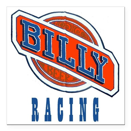 "Billy Racing Logo Square Car Magnet 3"" x 3"""