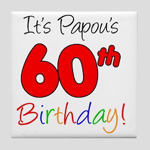 Papous 60th Birthday Tile Coaster