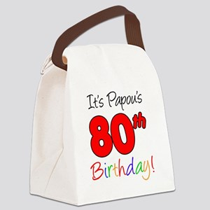 Papous 80th Birthday Canvas Lunch Bag