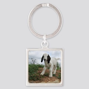 Kid Goat On Hill Square Keychain