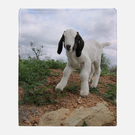Kid Goat On Hill Throw Blanket