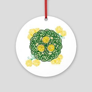 Celtic Art Yellow Roses Round Ornament