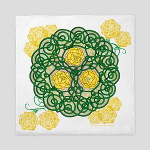 Celtic Art Yellow Roses Queen Duvet