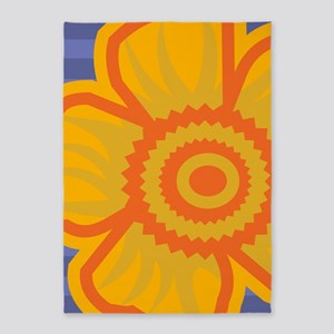 duvetTwinYellowFlower 5'x7'Area Rug
