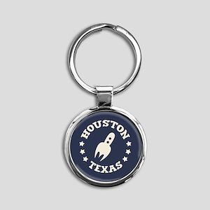 Houston Spaceship Round Keychain