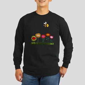Bee Buzzing Flower Garden Long Sleeve Dark T-Shirt