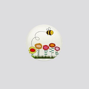 Bee Buzzing Flower Garden Shower Curta Mini Button