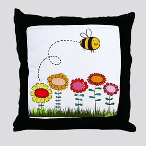 Bee Buzzing Flower Garden Shower Curt Throw Pillow