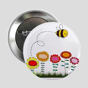 """Bee Buzzing Flower Garden Shower Curt 2.25"""" Button"""