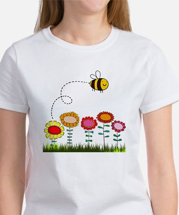 Bee Buzzing Flower Garden Shower C Women's T-Shirt