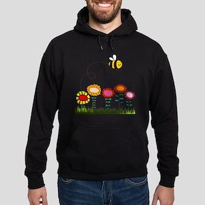 Bee Buzzing Flower Garden Shower Cur Hoodie (dark)