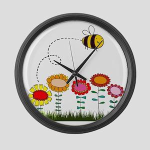 Bee Buzzing Flower Garden Shower  Large Wall Clock