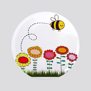 "Bee Buzzing Flower Garden Shower Curta 3.5"" Button"