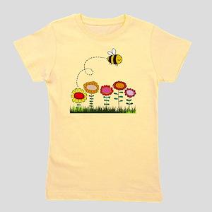 Bee Buzzing Flower Garden Shower Curtai Girl's Tee