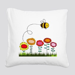 Bee Buzzing Flower Garden Sho Square Canvas Pillow