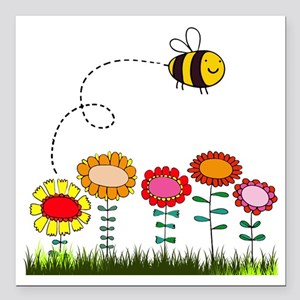 "Bee Buzzing Flower Garde Square Car Magnet 3"" x 3"""