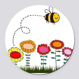 Bee Buzzing Flower Garden Shower  Round Car Magnet