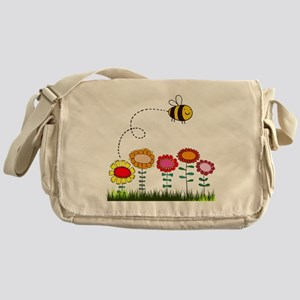 Bee Buzzing Flower Garden Shower Cur Messenger Bag