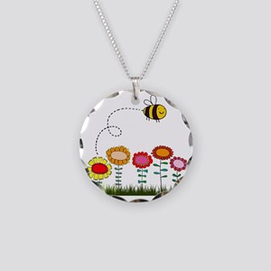 Bee Buzzing Flower Garden Sh Necklace Circle Charm