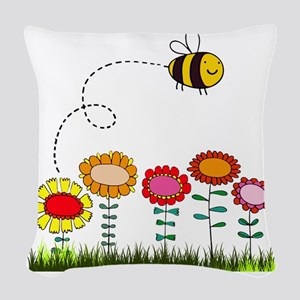 Bee Buzzing Flower Garden Show Woven Throw Pillow