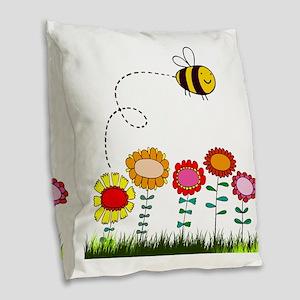 Bee Buzzing Flower Garden Show Burlap Throw Pillow