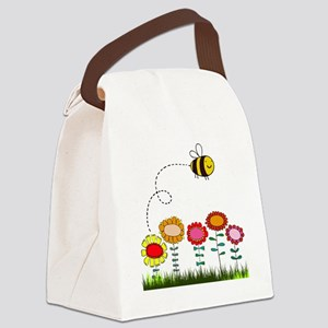 Bee Buzzing Flower Garden Shower  Canvas Lunch Bag