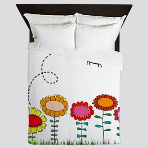 Bee Buzzing Flower Garden Shower Curta Queen Duvet
