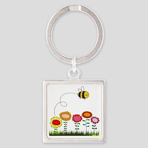 Bee Buzzing Flower Garden Shower C Square Keychain