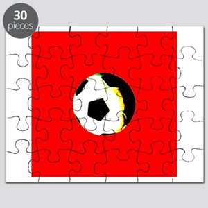 Red Soccer Football Kick It Baby! 4Jim Puzzle