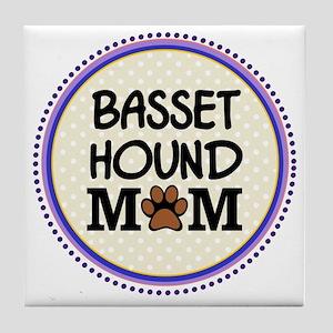 Basset Hound Dog Mom Tile Coaster