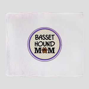 Basset Hound Dog Mom Throw Blanket