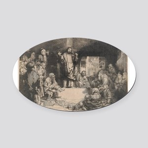 Christ Preaching - Rembrandt - c1652 Oval Car Magn