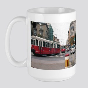Trolley car in Vienna Austria Large Mug