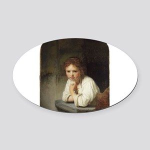 Girl at a Window - Rembrandt - c1645 Oval Car Magn